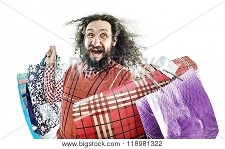 Funny guy with shopping bags