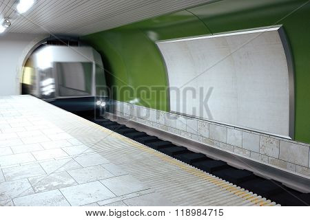 Blank Billboard On Green Subway Wall And Mooving Train, Mock Up