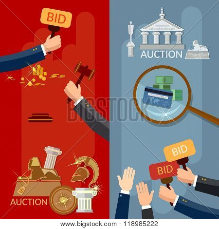 Auction Banners Hands And Money Buying Antiques And Real Estate Vector Illustration