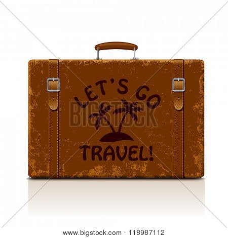 Vintage brown threadbare suitcase with straps and buckles isolated on white. Let's go  symbol and metaphor. Vector illustration. EPS 8