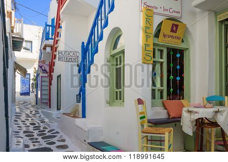 Street With Typical Greek Houses In Mikonos
