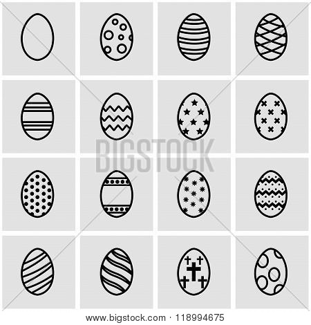 Vector line easter icon set