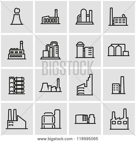 Vector line factory icon set