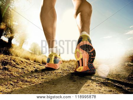 Strong Legs And Shoes Of Sport Man Jogging In Fitness Training Workout On Off Road