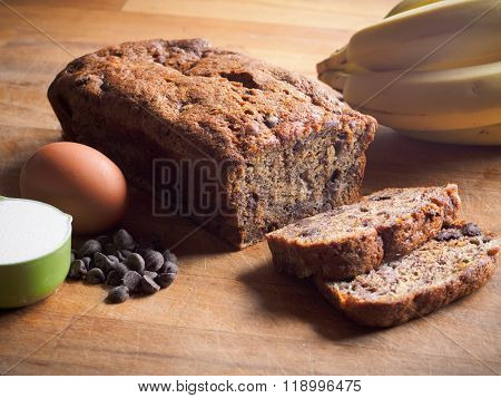 Banana loaf with chocolate chips and ingredients