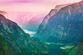 Amazing nature of the Norwegian mountains. Nature of Norway. Toned photo. Travel and hiking concept. Sognefjord poster