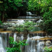 Fourth floor of Huay Mae Kamin Waterfall Khuean Srinagarindra National Park Kanchanaburi Thailand poster