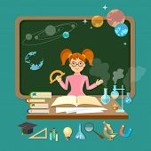 Back to school schoolgirl in a school board astronomy physics chemistry mathematics biology vector illustration poster