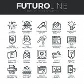 Modern thin line icons set of cyber security computer network protection. Premium quality outline symbol collection. Simple mono linear pictogram pack. Stroke vector logo concept for web graphics. poster