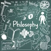 World philosophy and religion doctrine chalk handwriting doodle sketch design subject sign and symbol in blackboard background for education subject presentation or introduction with sample text create by vector poster