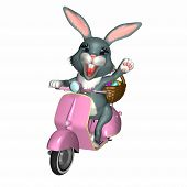 the easter bunny delivering his basket of eggs and candy on a scooter. poster