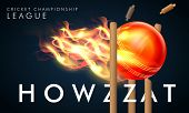 Creative fiery ball hit the wicket stumps with stylish text Howzzat for Cricket Championship League concept. poster