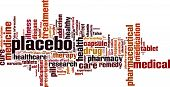 Placebo word cloud concept. Vector illustration on white poster