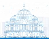 Outline The Fine Arts Palace/Palacio de Bellas Artes in Mexico City, Mexico. Vector illustration. Business Travel and Tourism Concept with Historic Building. Image for Presentation Banner Placard. poster