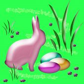abstract easter bunny and colored eggs in the grass poster