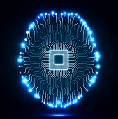 Neon brain. Cpu. Circuit board. Abstract technology background. Vector illustration. Eps 10 poster