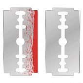 Metal Razor Blade Isolated on White Background poster