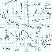 seamless pattern with mathematical formulas on school notebook poster