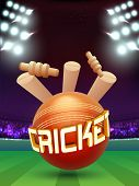 Creative Cricket Ball hit the Wicket Stumps on stadium lights background. poster