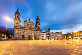 main square with church, Bolivar square in Bogota, Colombia, Latin America poster