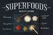 Superfoods on black chalkboard background: goji berries, chia, mung beans, buckwheat, quinoa, sunflower seeds. Top view, white lettering poster