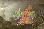 A small fairy with wings waits as a pink butterfly lands on her finger in a magical woodland forest. poster