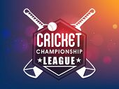 Creative sticker, tag or label design with bats and ball on shiny colorful background for Cricket Championship League concept. poster