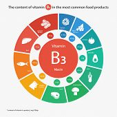 Content of vitamin B3 in the most common food products. Healthy lifestyle and diet vector illustration infographics wth food icons. poster