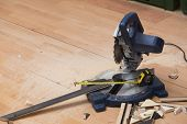 Electrical saw or mitre saw with circular blade for wood poster