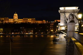 Budapest, Buda Castle And Chain Bridge By Night