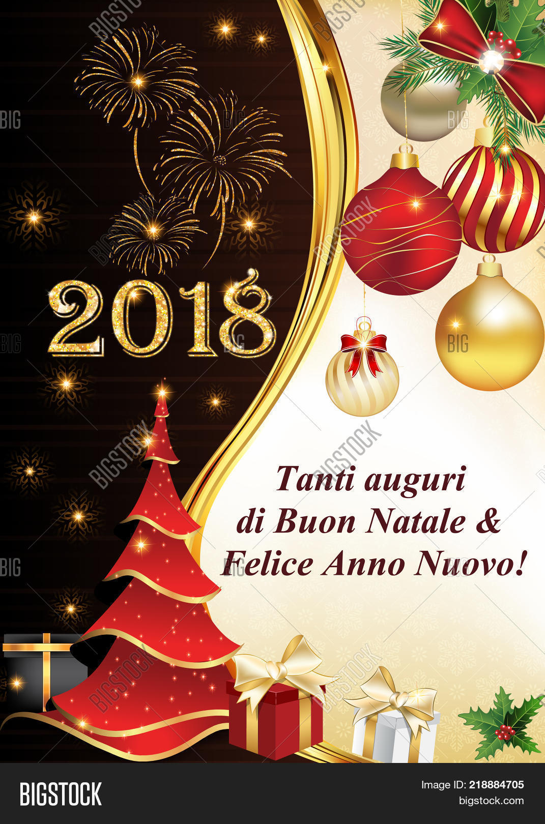 2018 italian corporate holiday season greeting card designed for italian speaking clients companies text - Merry Christmas And Happy New Year In Italian