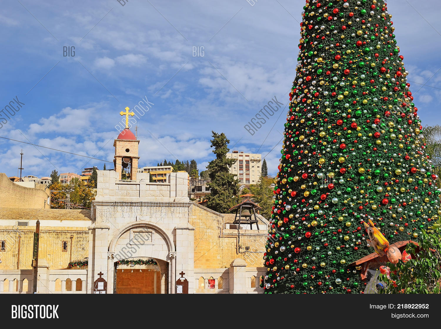 view of the greek orthodox church of the annunciation with christmas decorations and a christmas tree