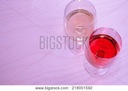 Two Glasses With White Wine