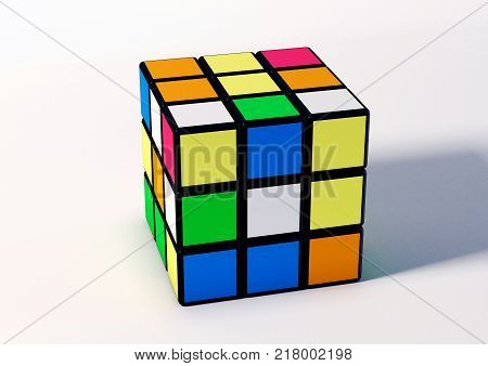 SAO PAULO - BRAZIL - DECEMBER 14, 2017 3D Rubik cube illustration on the white background. Rubik's Cube invented by a Hungarian architect Erno Rubik in 1974.