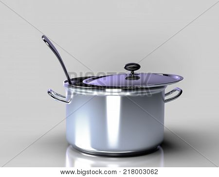 Saucepan on a gray backgroundA saucepan with a ladle on a gray background