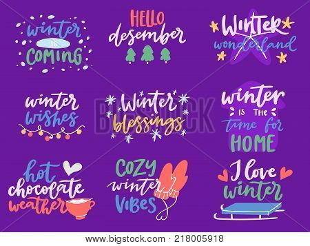 Winter Hello logo vector badge text letters motivation welcome wintertime phrases and quotes lettering. Winter Hello phrase