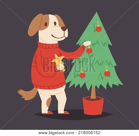 Christmas dog vector cute cartoon puppy and tree character illustration pet doggy Xmas celebrate pose illustration.