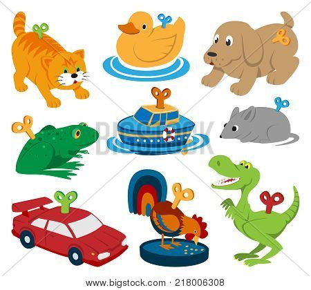 Kids vector toys clockwork key mechanism mechanic cartoon animals in toyshop for child clock work car and boat in playroom illustration isolated on white background.