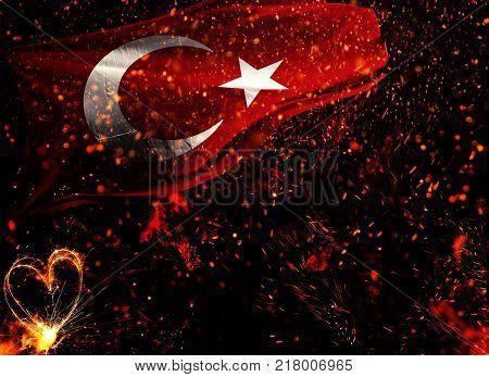 Turkey Flag, Turkey 3D font, the Republic of Turkey, the Turkish People