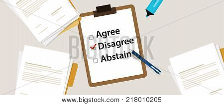 disagree Selecting an item in the survey. Items for voting agree, disagree, abstain on paper with check mark vector
