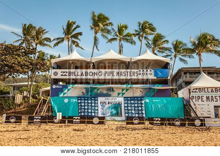 BANZAI PIPELINE HAWAII USA - DECEMBER 10 2017: Billabong Pipe Masters 2017 judges stand empty on Banzai Pipeline on north shore of Oahu Hawaii USA.