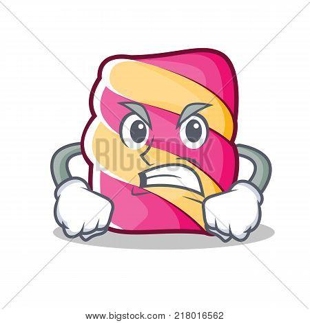 Angry marshmallow character cartoon style vector illustartion