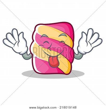 Tongue out marshmallow character cartoon style vector illustartion