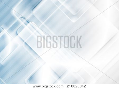Blue and grey tech geometric background with glossy squares. Vector design template