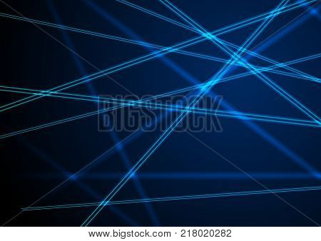 Blue neon laser beams lines abstract background. Shiny futuristic vector design