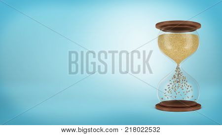3d rendering of a large retro hourglass with trickling golden sand turning into dollar bills in the lower chamber. Make money. Save your time. Money making opportunity.