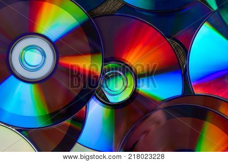 Background of shiny compact discs