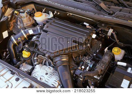 Car engine intake side closeup