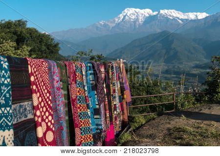 Nepalese handmade scarves for sale, Pokhara, Nepal