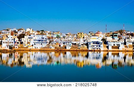 The holy Brahman town and lake in the early morning, Pushkar, Rajasthan, India.